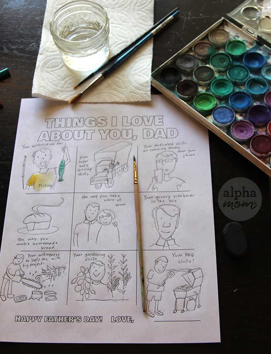 Things I love about you Dad coloring sheet