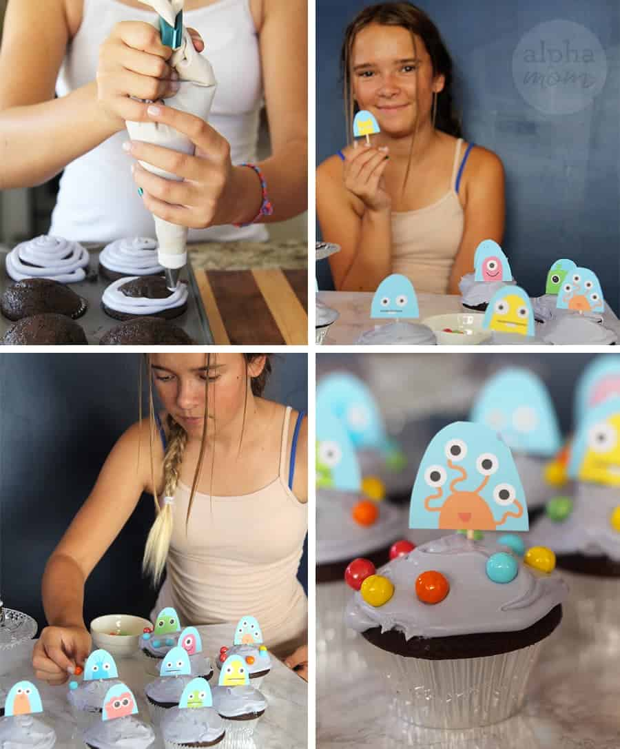 UFO Cupcakes (how-to) by Brenda Ponnay for Alphamom.com #OuterSpaceParty #IntergalaticParty #KidPartyCupcakes