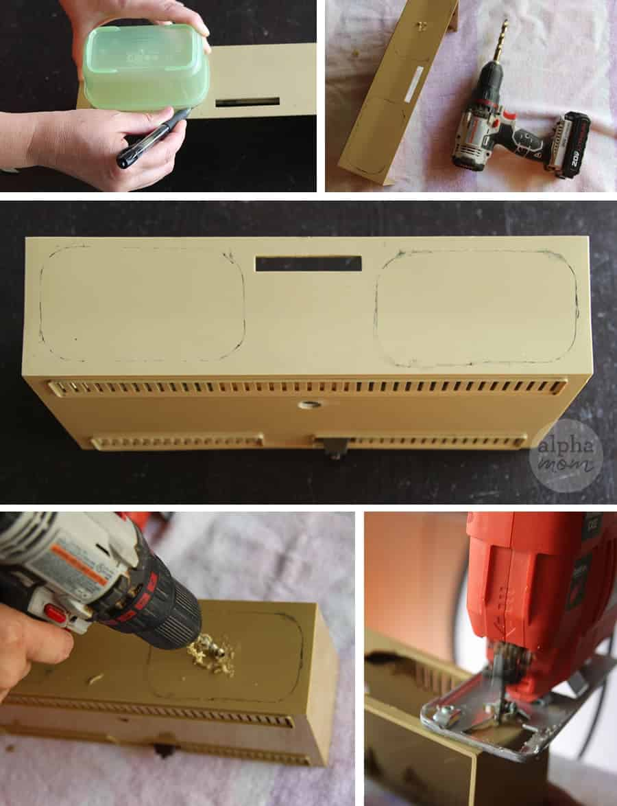 constructing a planter out of a vintage clock radio
