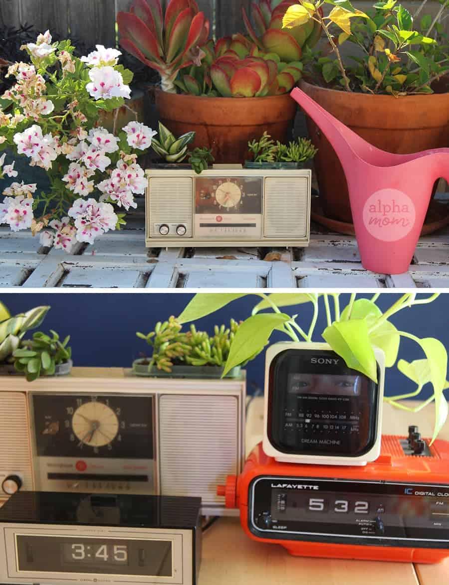 Vintage Clock Radio Planters for Dad by Brenda Ponnay for Alphamom.com #FathersDay #FathersDayGift #FathersDay #upcycledcraft #FatherDayCraft