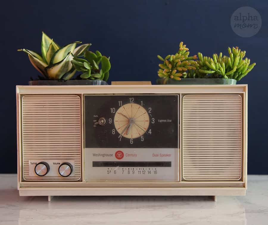 Vintage Clock Radio Planter for Father's Day craft gift