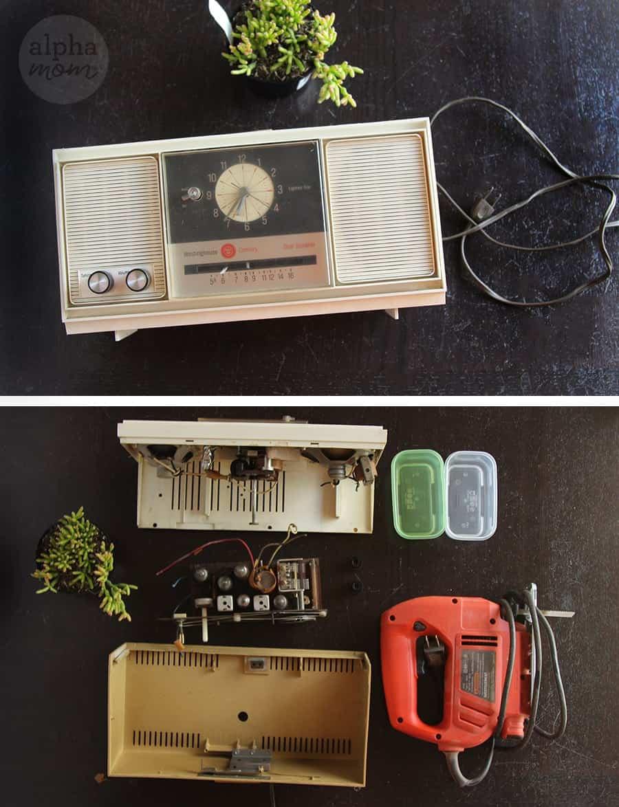 Vintage Radio Clock Planters for Dad