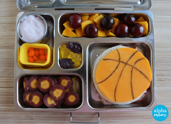NBA Finals Bento Lunches: Cleveland Cavaliers colors by Wendy Copley for Alphamom.com #NBA #Cavs #GSW #bentobox #bentolunch #kidslunch