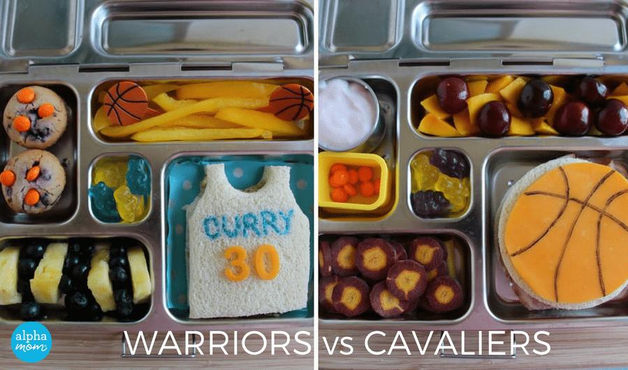 NBA Finals Bento Lunches: Warriors vs. Cavs by Wendy Copley for Alphamom.com #NBA #GSW #Cavs #bentobox #bentolunch #kidslunch #basketballlunch #foodcrafts