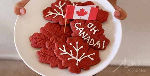 Happy Canada Day! Red Maple Leaf Cookie Recipe by Brenda Ponnay for Alphamom.com #CanadaDay #CanadianPride #OhCanada #MapleLeafCookies #AutumnBakingCraft