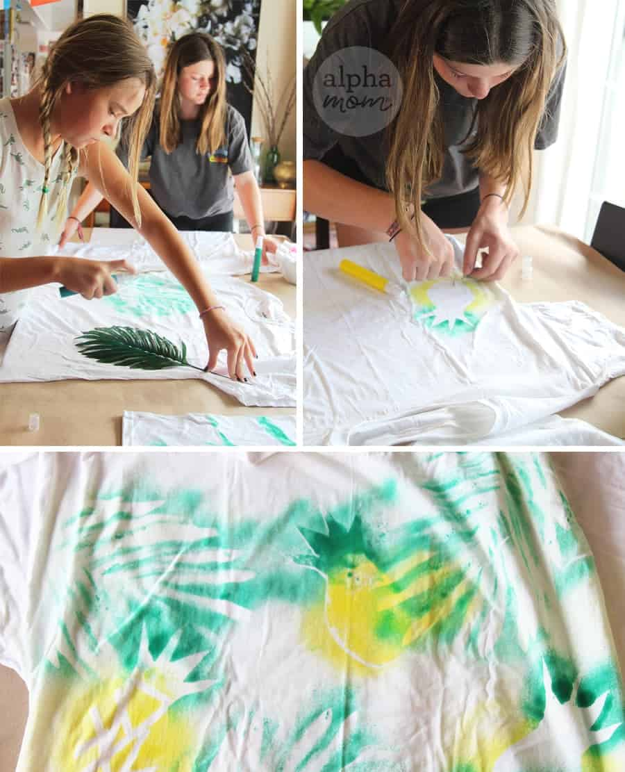 DIY T-Shirt Swimsuit Cover-Ups (stencil art) by Brenda Ponnay for Alphamom.com #SummerCraft #BeachCraft #KidCraft #SummerFun #PaintCraft