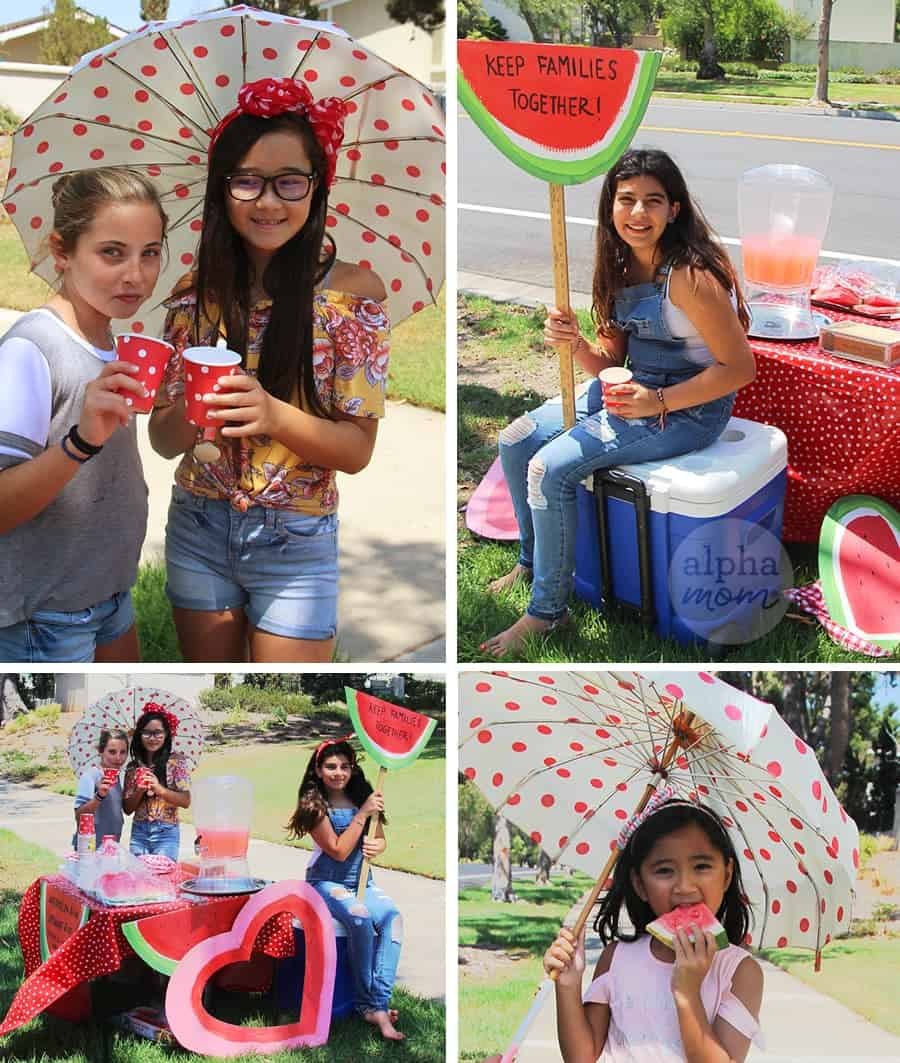 Watermelon Stand to Raise Money for Causes that Matter to Your Kids by Brenda Ponnay for Alphamom.com #LemonadeStand #KeepFamiliesTogether #KidFundraising #Citizenship