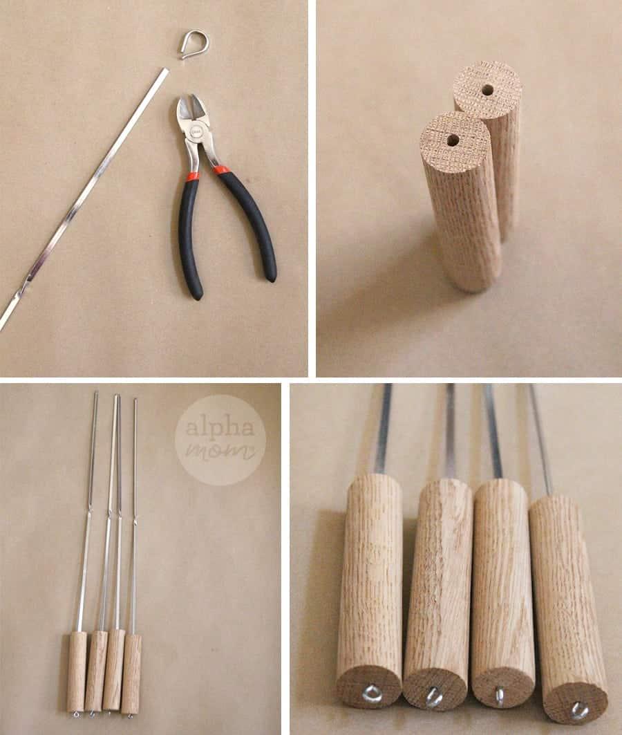 Personalized Campfire Roasting Sticks DIY (how-to) by Brenda Ponnay for Alphamom.com #smores