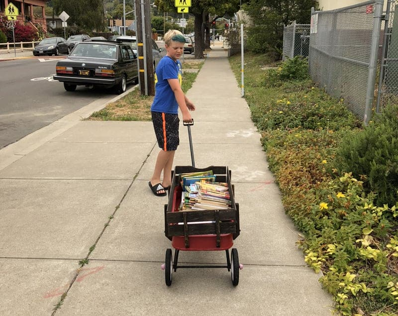 Kid pulling a wagon filled with old books to donate