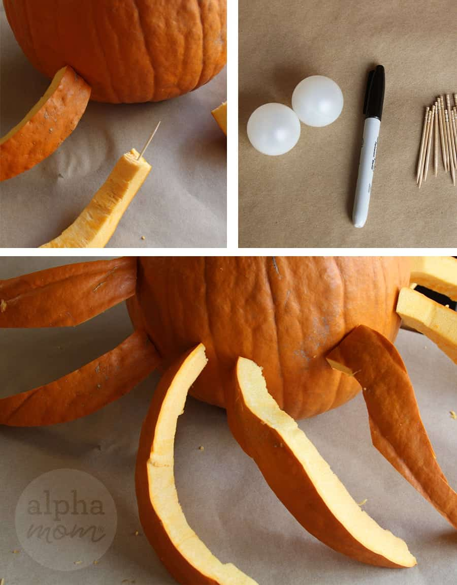 3D Octopus Jack o' Lantern Carving Tutorial for Halloween (How-to Part 2) by Brenda Ponnay for Alphamom.com