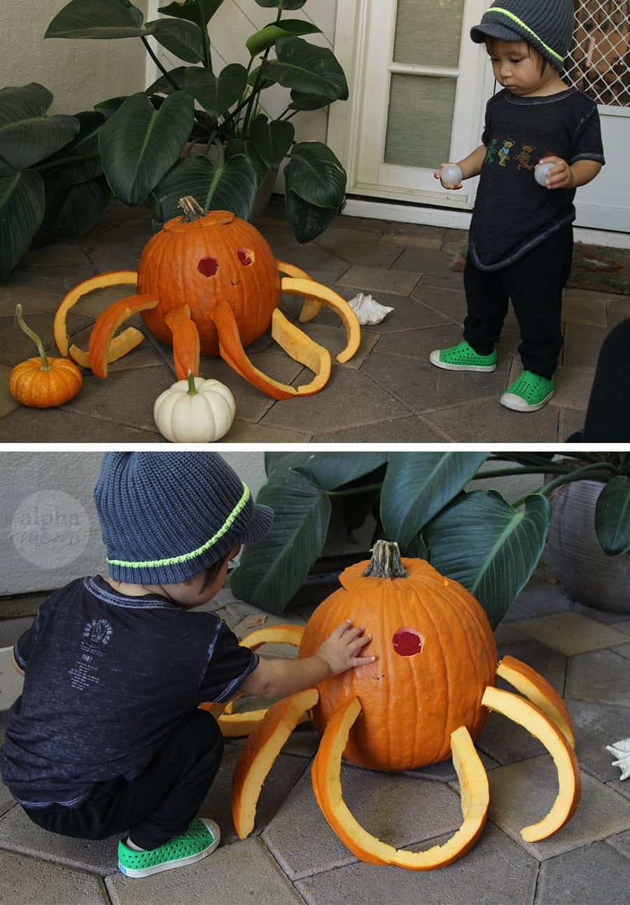 3D Octopus Jack o' Lantern Carving Tutorial for Halloween (add eyes) by Brenda Ponnay for Alphamom.com