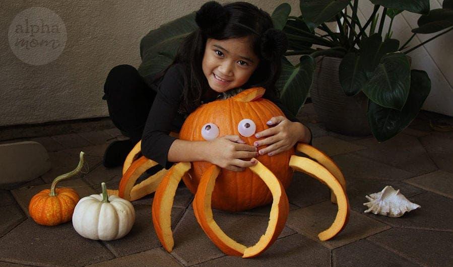 3D Octopus Jack o' Lantern Carving Tutorial by Brenda Ponnay for Alphamom.com