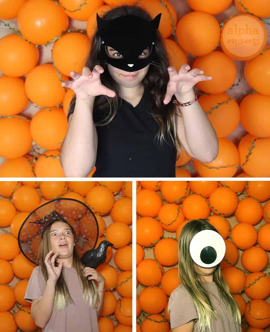 DIY Pumpkin Photo Wall Backdrop (posing) by Brenda Ponnay by Alphamom.com
