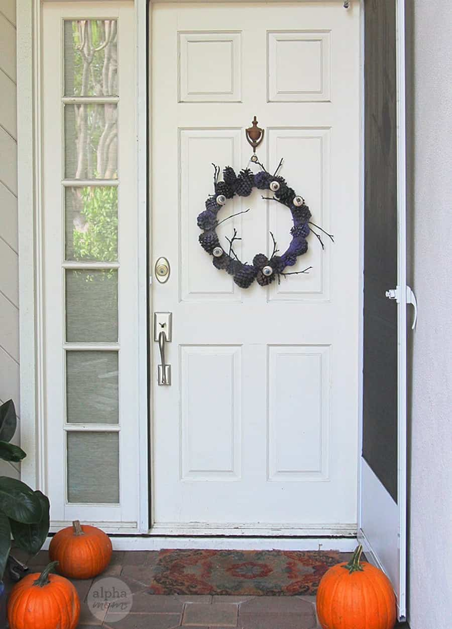 Creepy Eyeball Pinecone Wreath for Halloween