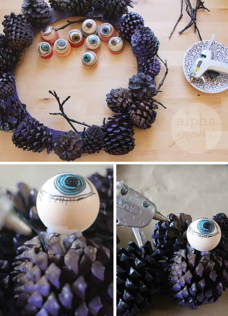 Creepy Eyeball Pinecone Wreath for Halloween DIY (how-to step 3)
