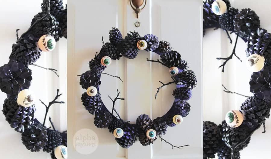 Creepy Eyeball Pinecone Wreath for Halloween DIY