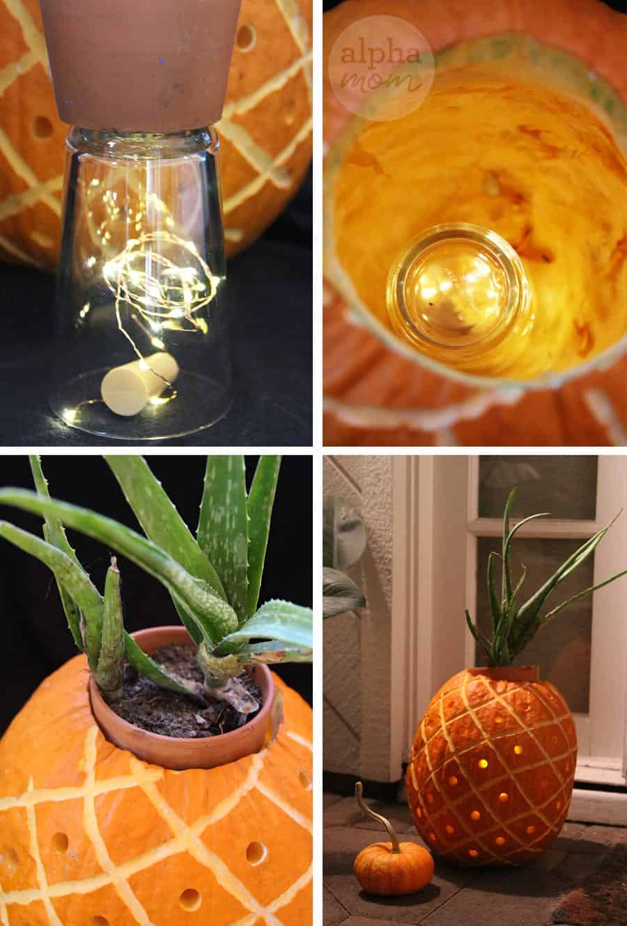 3D Pineapple Jack o' Lantern Carving Tutorial (add lights) by Brenda Ponnay for Alphamom.com