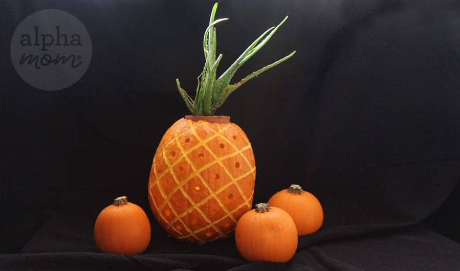 3D Pineapple Jack o' Lantern Carving Tutorial for Halloween by Brenda Ponnay for Alphamom.com