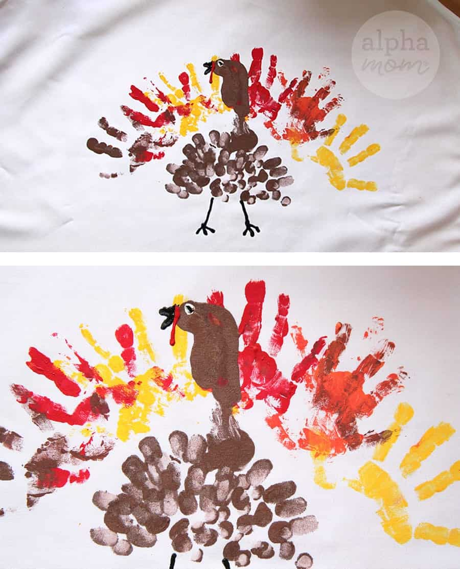 DIY Finger Painting Turkey Apron for Thanksgiving