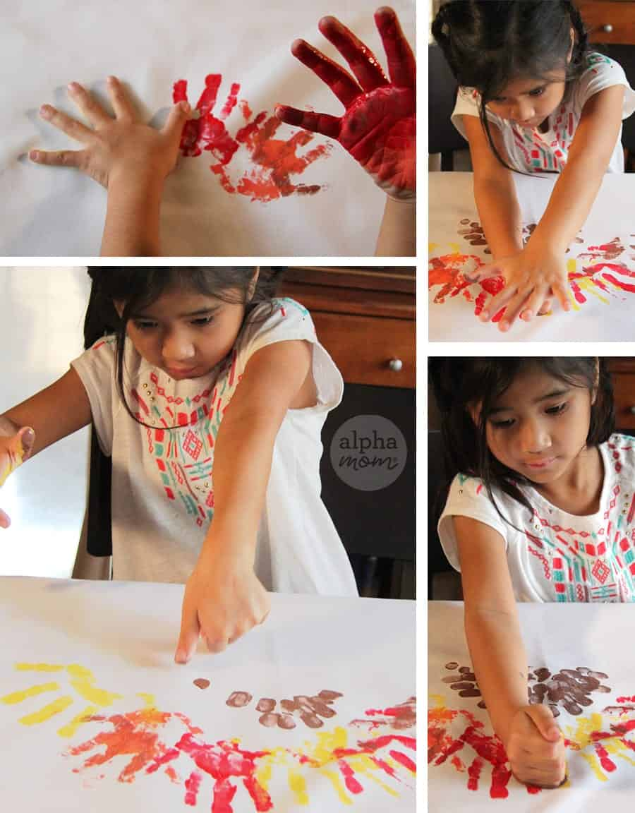 DIY Finger Painting Turkey Apron for Thanksgiving (How-To Handprints)