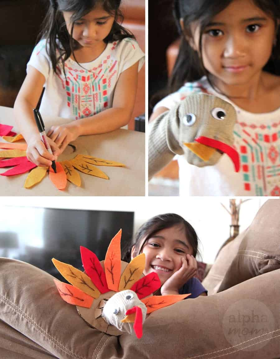 Turkey Sock Puppet for Thanksgiving