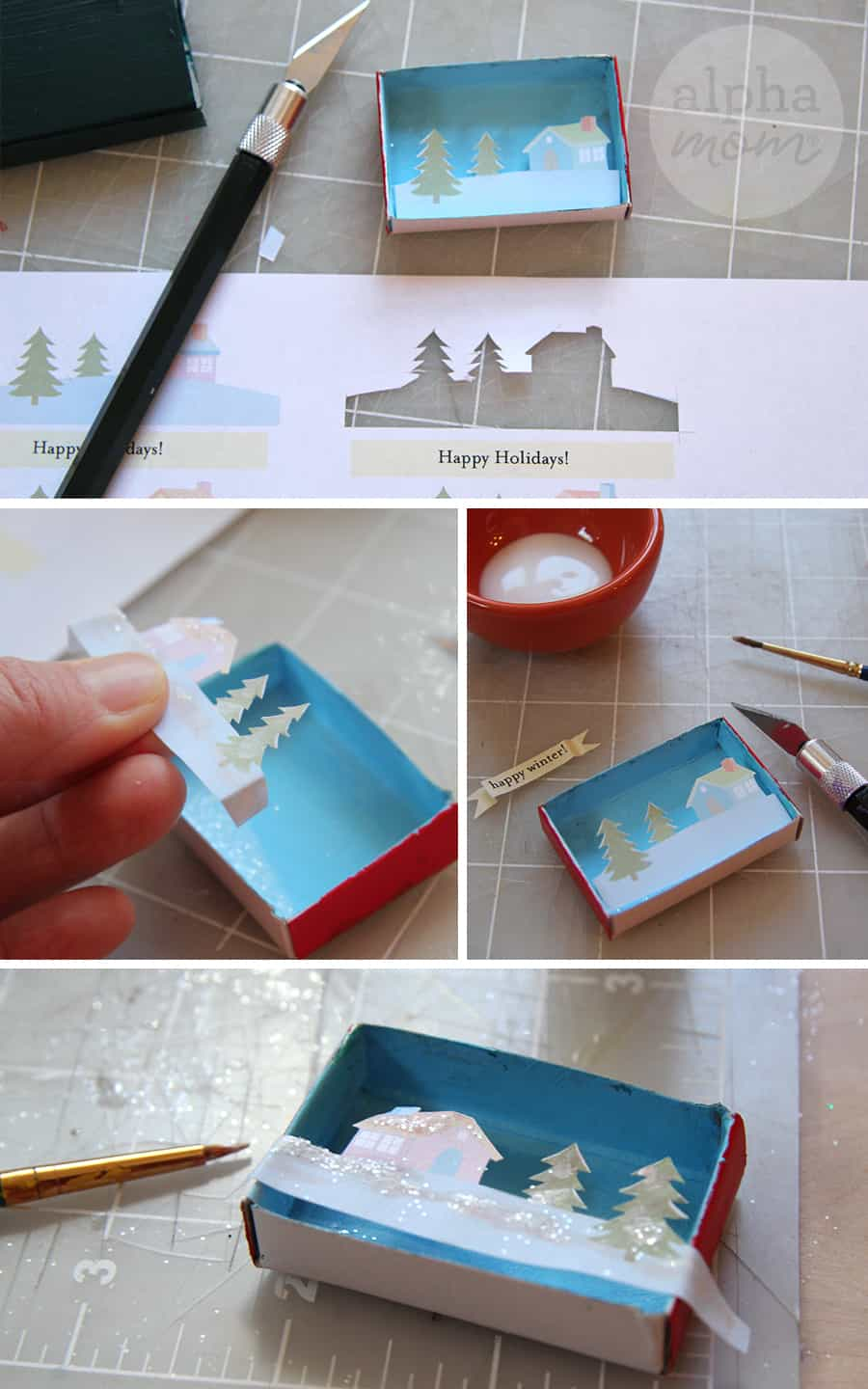 How to of Craft of Tiny Holiday Matchbox Greetings and Place Cards