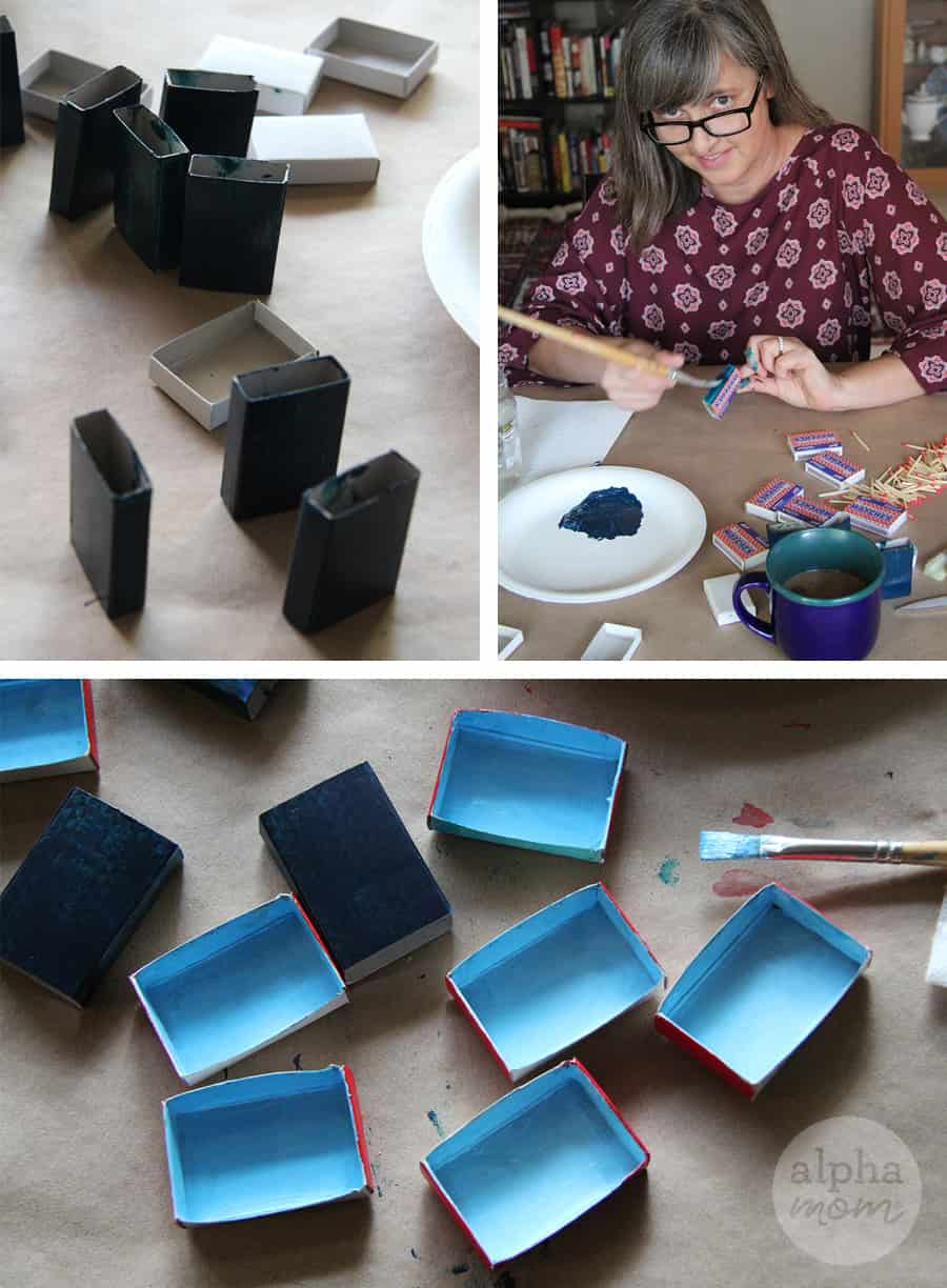 Painting Matchboxes for Holiday Craft of Greetings and Place Cards