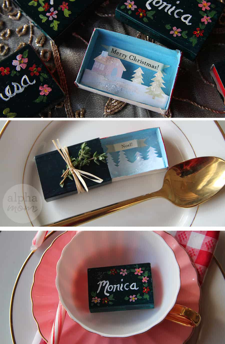 Place Cards of Tiny Holiday Matchbox Greetings by Brenda Ponnay for Alphamom.com