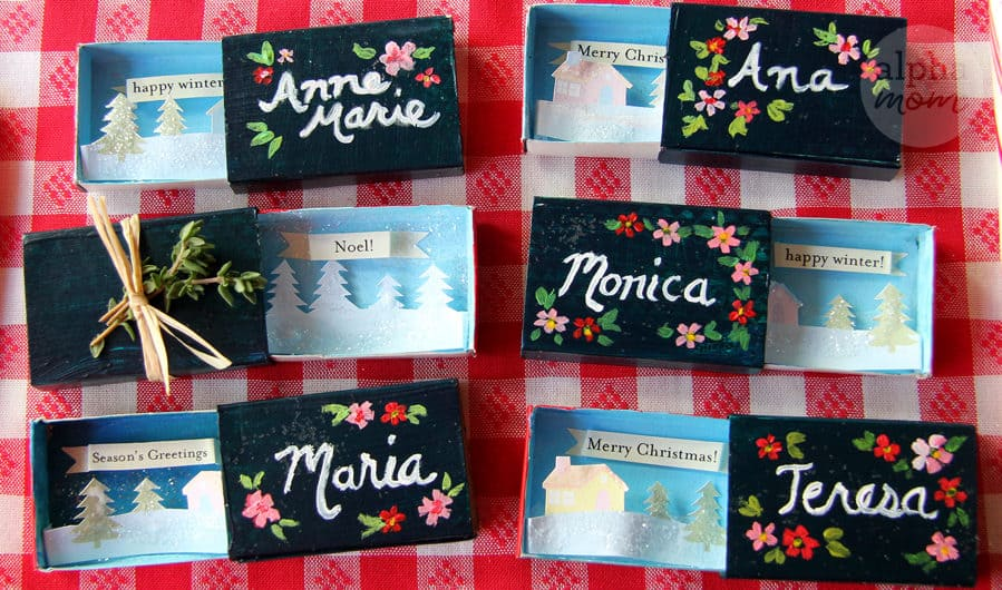 Tiny Holiday Matchbox Greetings and Place Cards for Dinner Table