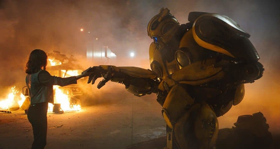 Bumblebee Movie shot of Hailee Steinfeld and Transformer Paramount Pictures