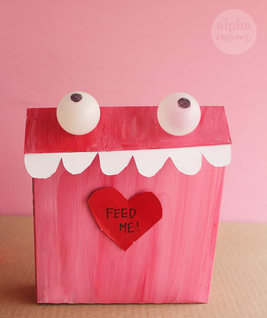 painted Monster Valentine Mailbox crafted from recycled cereal cereal box