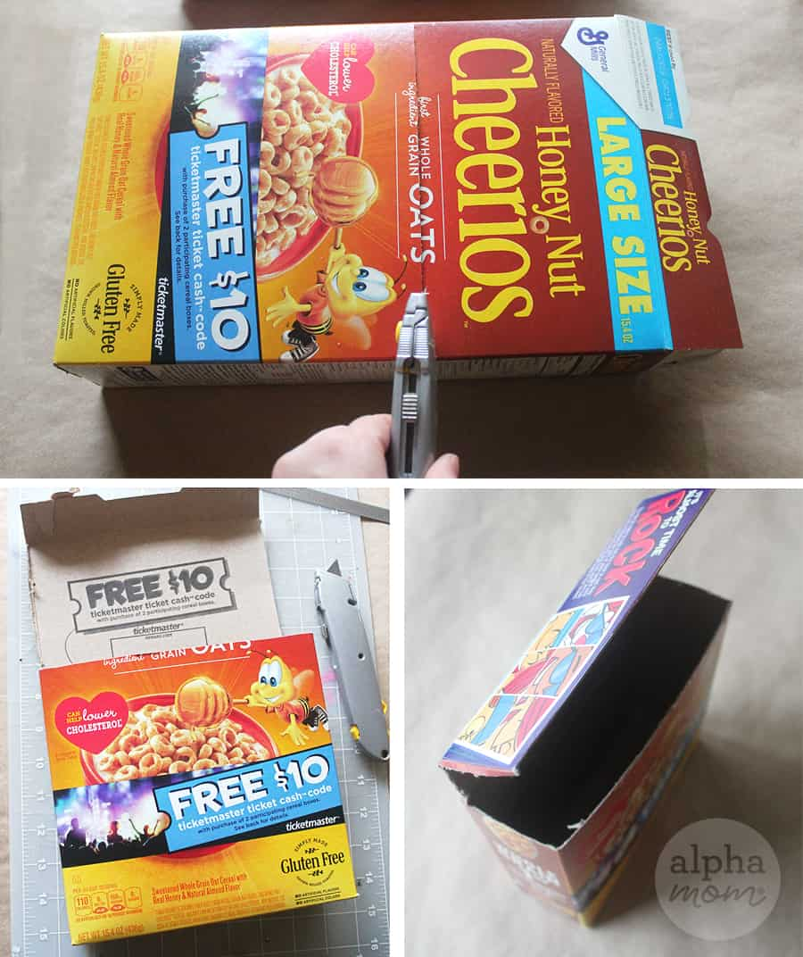 cutting cereal box to craft Valentine Mailbox for kids