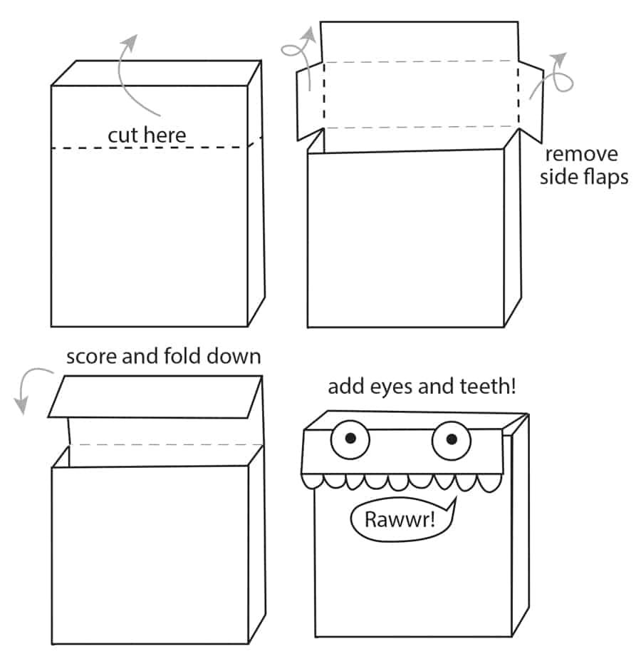 illustration on how to make a Valentine Mailbox from a recycled cereal box
