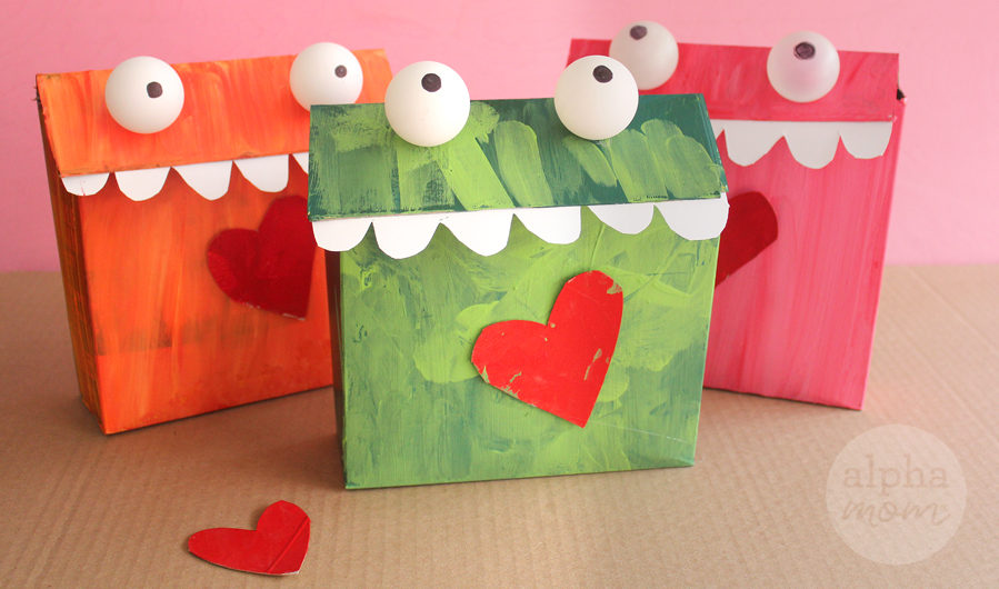 Cereal boxes converted into Valentine Mailboxes for Kids at school