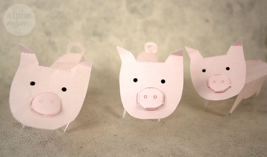 Three 3D Paper Pigs Assembled