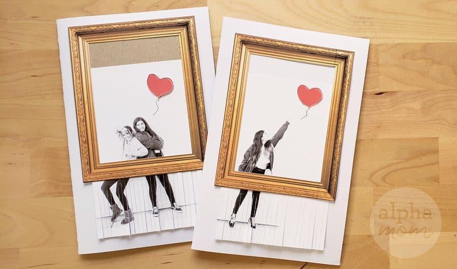 Girls posing like artwork from Banksy's Shredded Girl and Heart Balloon
