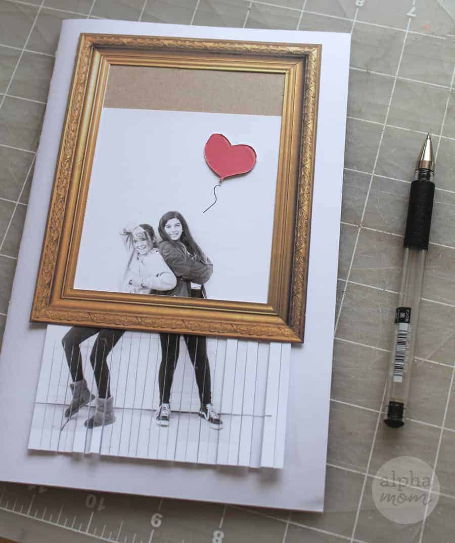 Homemade Valentine's Day Card inspired by Shredded Girl and Heart Balloon Art