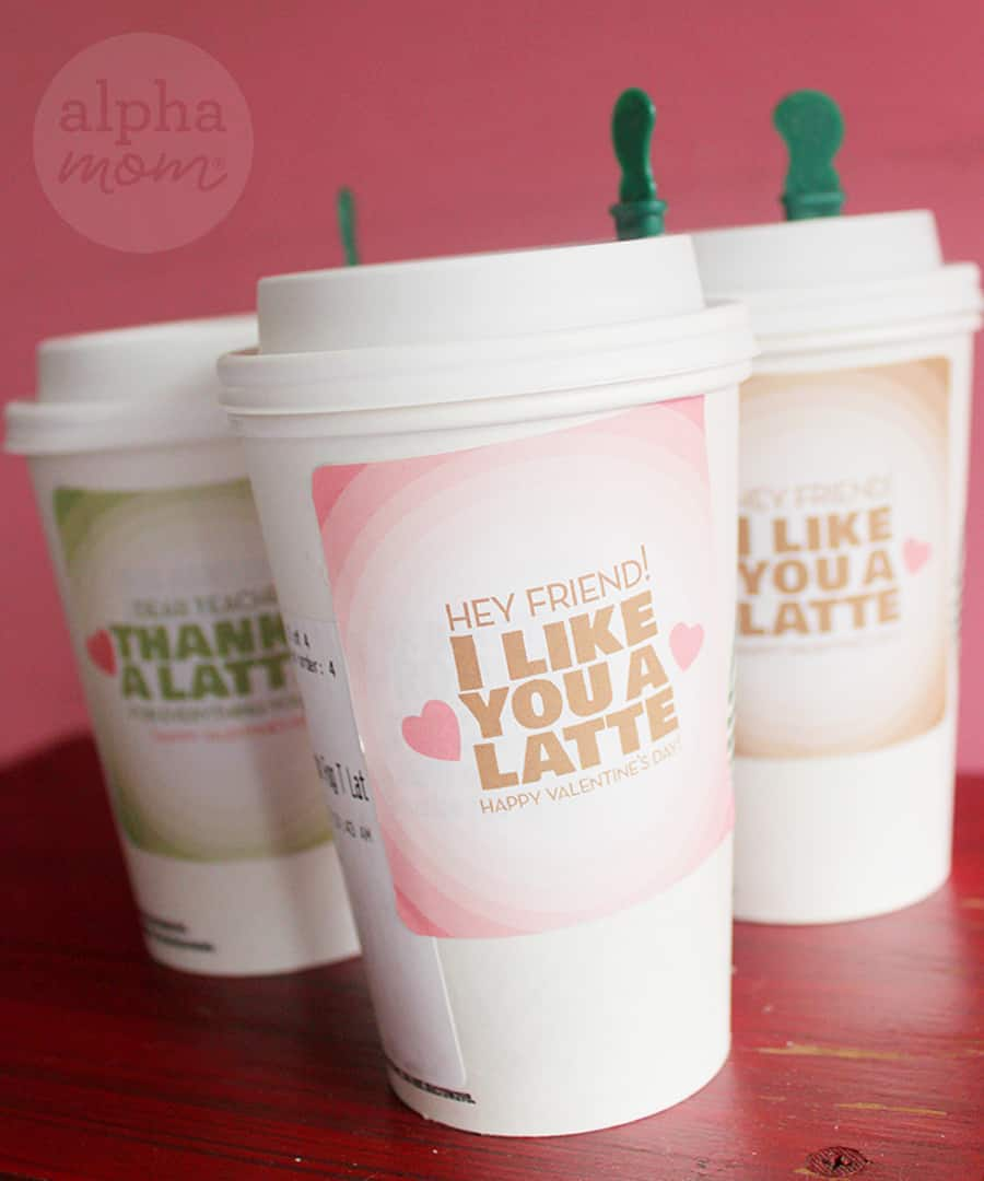 Valentine's Day stickers to add to Latte gifts for teachers and friends (stickers on cups of latte)