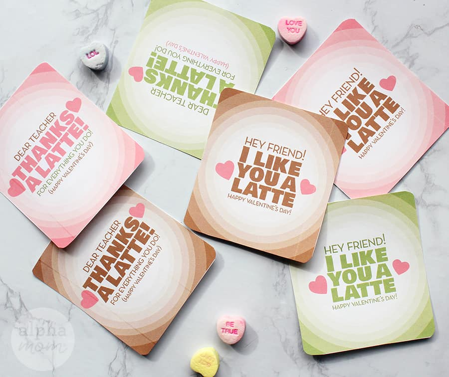 Valentine's Day stickers to add to Latte gifts for teachers and friends (cut out stickers)