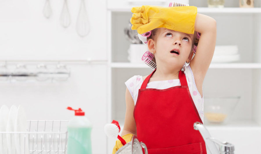 Young girl complaining dramatically about doing chores
