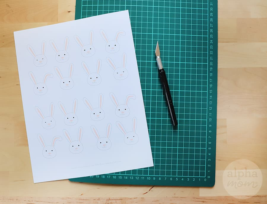 printable with lots of bunny heads that can be cut out on self-healing mat and craft knife