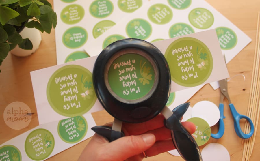Circle punch and supplies cutting out St. Patrick's Day printables
