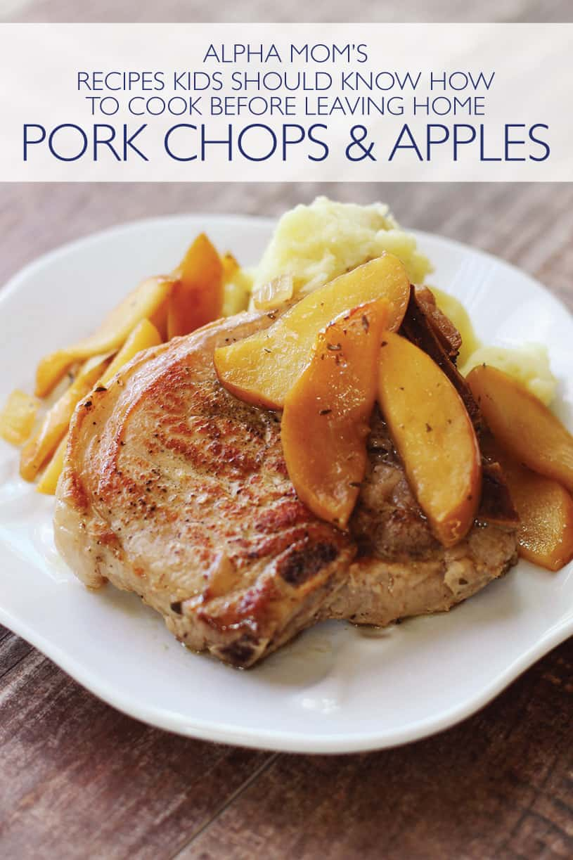 plate of cooked pork chops and apples