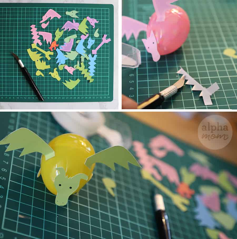 how-to demonstrating making dragon creatures craft from plastic easter eggs