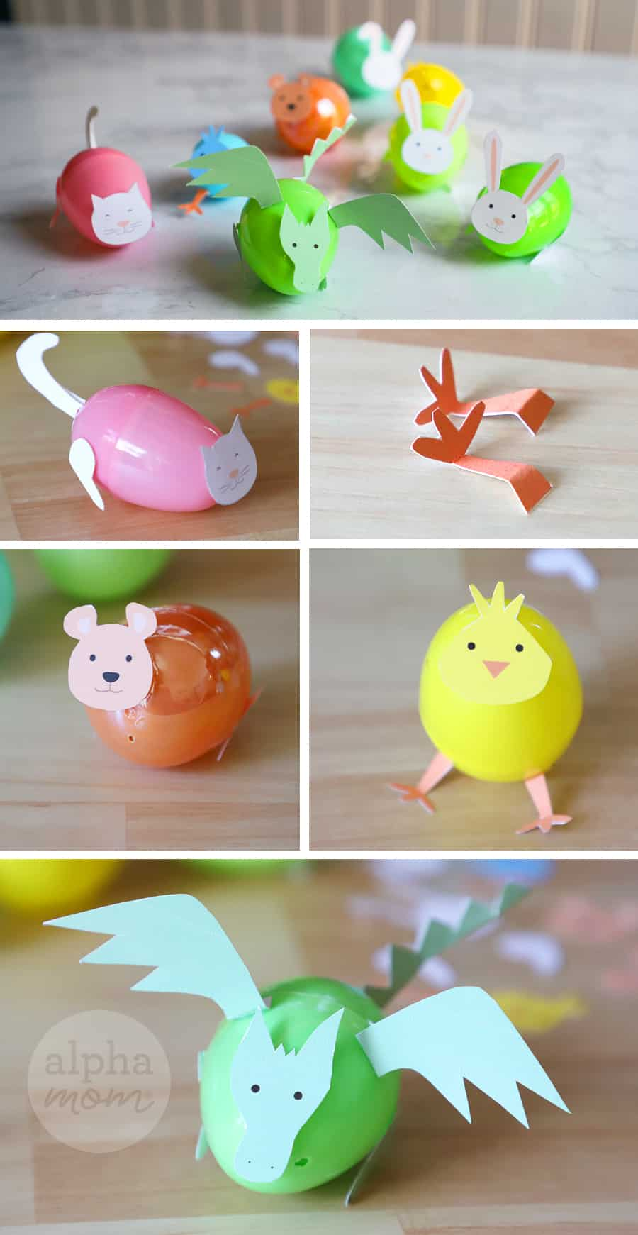 crafts of plastic Easter eggs transformed into little creatures