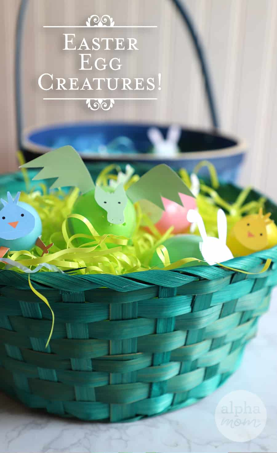 Plastic eggs transformed into little creatures in a basket for Easter