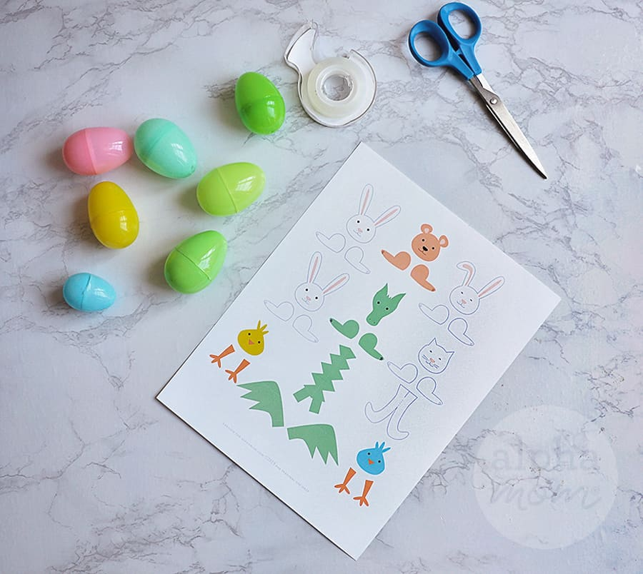 plastic easter eggs and supplies to make Easter Egg crafts