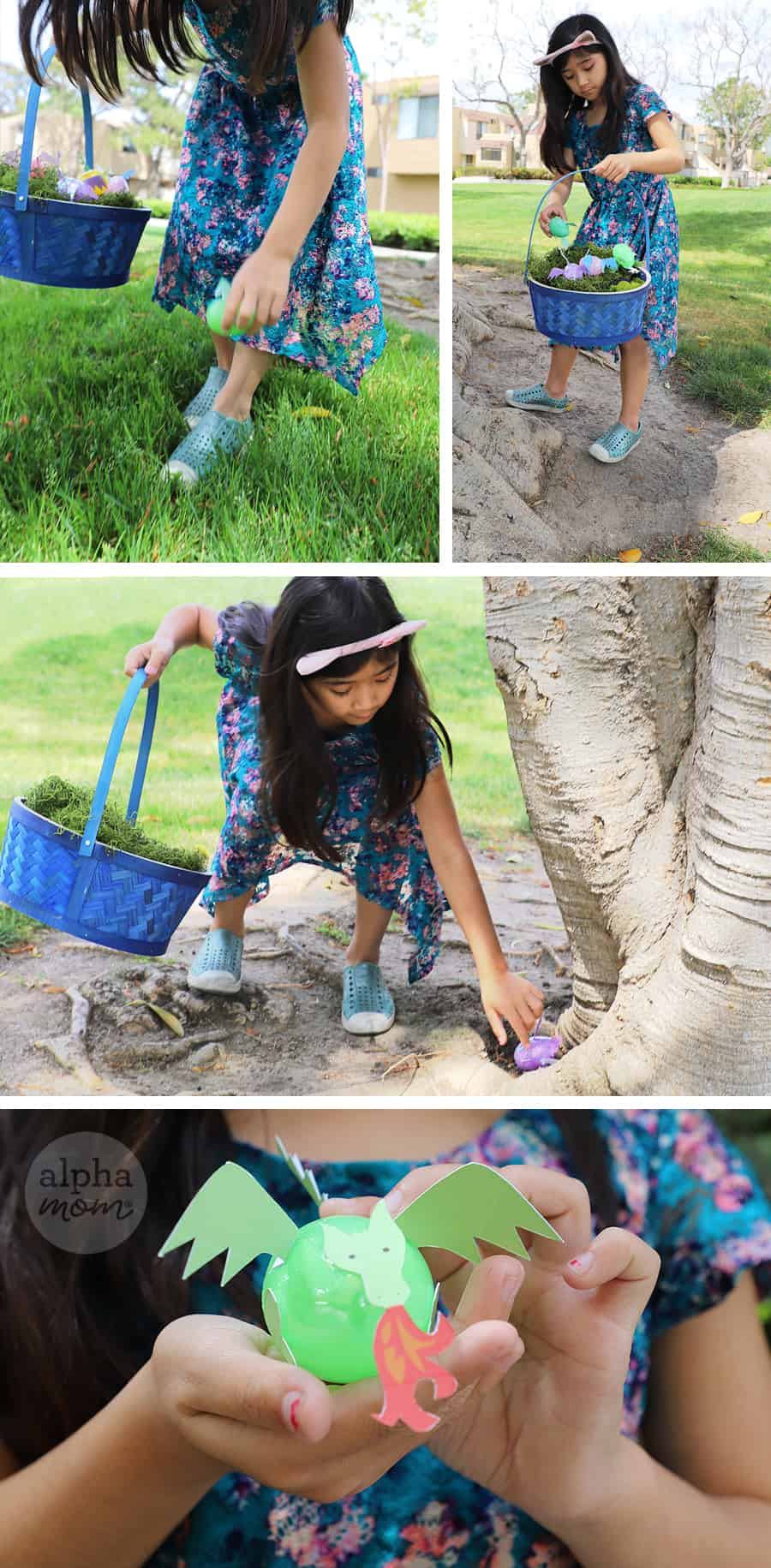 young girl on easter egg hunt and found plastic egg that looks like mini dragon creature