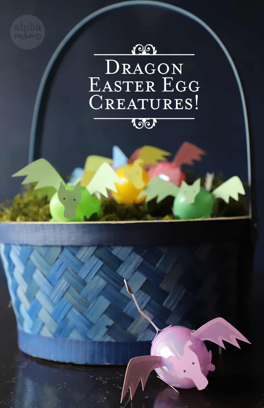 Easter basket filled with colorful plastic eggs transformed into little dragon creatures using paper craft