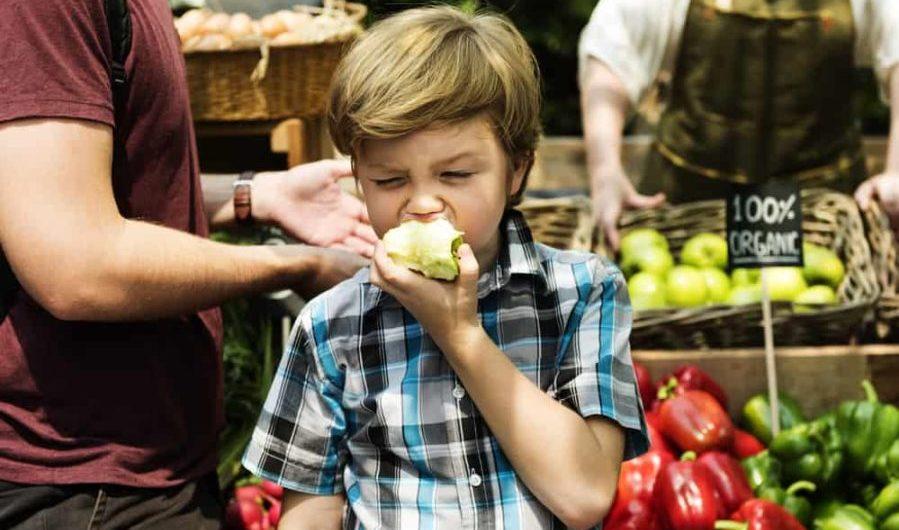 Little Boy Biting Fresh Green Apple